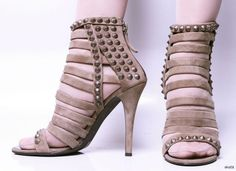 new $1525 GIUSEPPE ZANOTTI for BALMAIN taupe open-toe STUDDED strappy shoes  #GIUSEPPEZANOTTIforBALMAIN #Strappy