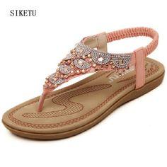 SIKETU 2017 bow women's flip-flop shoes PINK WHITE flip flops Rhinestone pearl sandals female flat women's shoes size 35--40