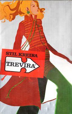 Store display illustration made by marker pen technique for Trevira, Slovenian textile company; designer: Vladimir Hinić, Ozeha,1976.