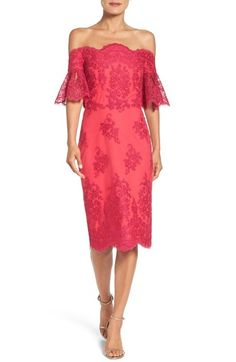 Badgley Mischka Off the Shoulder Sheath Dress available at #Nordstrom