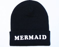 Black Beanie with words, Black mermaid beanie, grunge, slouch beanie, beanie with letters, Black mermaid Beanie