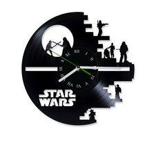 Star Wars reloj de discos de vinilo por puffpuffdesign en Etsy