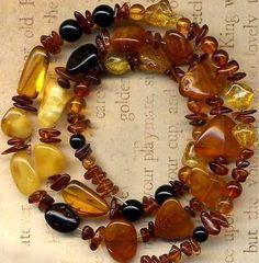 "Baltic Amber Cognac Yellow Cherry Pure 17"" Strd Genuine Natural Colors Briolette | eBay"
