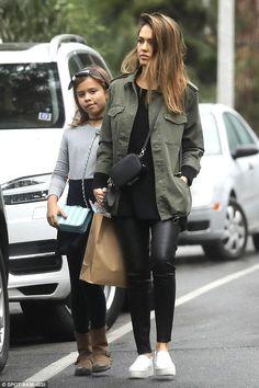 Jessica Alba wearing Vince Warren Leather Sneakers, Pop & Suki Luggage Tag, Pop & Suki Short Tassel and Pop & Suki Camera Bag