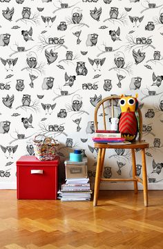 Owls Pattern - Wall mural, Wallpaper, Photowall, Home decor, Fototapet, Valokuvatapetit