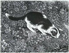 """Sue Scullard - """"Going Fishing"""" - Wood engraving"""
