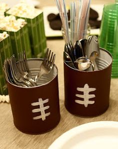Superbowl party utensil cans
