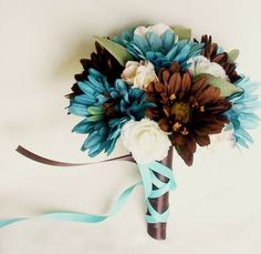 Turquoise Bridal Bouquets Package Chocolate Gerberas custom wedding Flowers | AmoreBride - Wedding on ArtFire