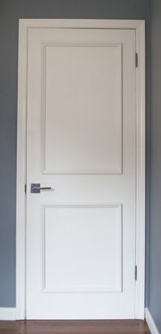 Get the custom, high-end look in your home quickly and easily with our Patent Pending door moulding kits for plain slab doors ~Our professional grade wood fra Interior Window Trim, Black Interior Doors, Interior Door Styles, Two Panel Doors, Trim On Doors, Door Molding, Moulding, Minimalist Room, Door Trims