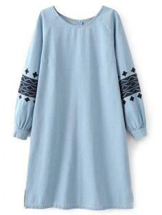 Denim Embroidered Tunic Dress