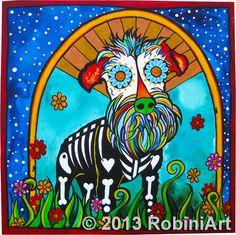Repo, the Mini Schnauzer, in all his RobiniArt glory! To order a portrait of…