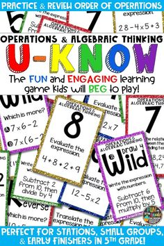 Students love playing U-Know games for fun REVIEW of orders of operation or for test prep. It's a perfect activity for any small group or station, and great for early finishers. Operations & Algebraic Thinking U-Know is a fun learning game played similar to UNO except if you get an answer wrong, you have to draw two! Students will beg to practice numerical expressions in this way! Available in MANY other topics, too!