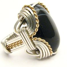 Handmade Wire Wrap Two Tone Sterling Silver/14kt Gold Filled Striped Onyx Ring