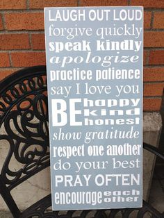 Family Rules  Hand Painted Wood Sign  by sugarcoatedsentiment