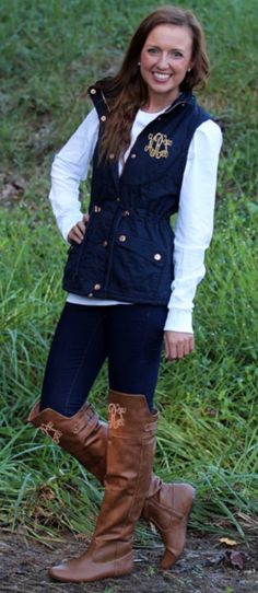 Marley Lilly Fall Items: Navy Monogrammed Vest and Monogrammed Knee Boots