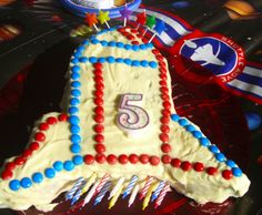 Rocket Ship Birthday Cake- Bet it is cute when the candles are lit!