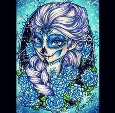sugar skull print day of the dead disney princess more sugar skull Dark Disney, Disney Punk, Disney Love, Disney Art, Sugar Skull Girl, Sugar Skulls, Sugar Skull Drawings, Alternative Disney, M Anime