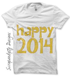 New Year Iron on Transfer - 2014 Iron on Shirt PDF / New Years Shirt Design / Kids Boys Girls Clothing Tshirts / Newborn Baby Clothes IT148