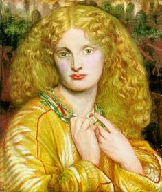 Portrait painting of a young woman with golden hair and clothing