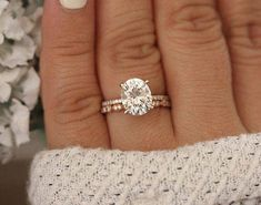 Rose Gold Engagement Ring, Moissanite Oval and Diamond Bridal Ring Set, Forever Classic Moissanite Engagement Ring - Wedding Jewelry Wedding Rings Simple, Beautiful Wedding Rings, Wedding Rings Vintage, Vintage Engagement Rings, Wedding Jewelry, Gold Wedding, Wedding Bands, Wedding Venues, Dream Wedding