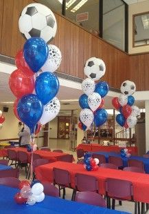 Soccer Themed Balloon Centerpiece