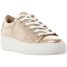 Steve Madden Bertie-C Lace Up Trainers , Rose Gold (87 CHF) ❤ liked on Polyvore featuring shoes, sneakers, rose gold, sport sneakers, sports trainer, lace up flat shoes, sports shoes and platform canvas sneakers
