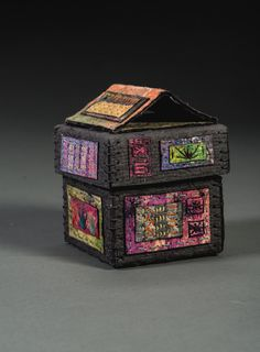 handmade paper, wax resist, collage, stitching, box construction. ©Claudia Lee Paper Clothes, Origami Paper Art, Arts And Crafts, Paper Crafts, Fabric Boxes, Sewing Box, Paper Mache, Pin Cushions, Textile Art