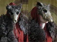 Red Ridinghood Wolf Mask #1 by Nymla skull demon devil cosplay costume LARP LRP equipment gear magic item | Create your own roleplaying game material w/ RPG Bard: www.rpgbard.com | Writing inspiration for Dungeons and Dragons DND D&D Pathfinder PFRPG Warhammer 40k Star Wars Shadowrun Call of Cthulhu Lord of the Rings LoTR + d20 fantasy science fiction scifi horror design | Not Trusty Sword art: click artwork for source