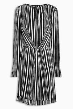 Mono Stripe Pleated Dress