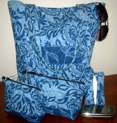 Blue Floral Tote Purse with Inner Zippered Pocket  by BeachDawn