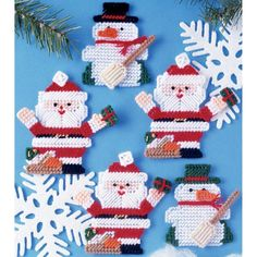 Tobin-Design Works: Plastic Ornament Canvas Kit. Create adorable ornaments that will be a great holiday decoration or to give out as gifts! This package contains 7 count plastic canvas, yarn, trim, ne