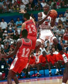 Michael Jordan---- contorts in air to get a shot off against Angola in Team USA's 1992 Summer Olympic matchup in Barcelona.The Dream Team crushed every team it faced,never winning by fewer than 32 points! Michael Jordan Washington Wizards, Kobe Bryant Michael Jordan, Jordan 23, Jordan Shoes, Team Usa Basketball, Love And Basketball, Olympic Basketball, Basketball Legends, Basketball Shoes