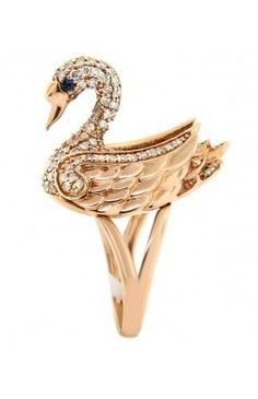 14K Rose Gold Diamond and Sapphire Swan Ring