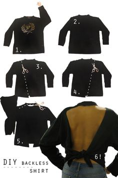 Women Long Sleeve Sexy Back Off Lace Dress Bow Backless Mini Diy Cut Shirts, T Shirt Diy, Diy Clothes Design, Backless Shirt, Sweatshirt Refashion, Cut Sweatshirts, Diy Fashion, Dress Fashion, Fashion News