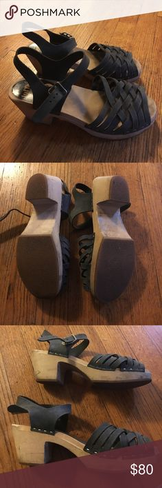 Swedish hasbeens size 39 Navy blue Swedish hasbeens sandals. The sole is in excellent condition. Straps are in fair condition. Sides are scuffed and dirty--see pics. Fit like an 8.5. All questions welcomes, all reasonable offers considered. Swedish Hasbeens Shoes Sandals