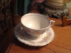"Syracuse Briarcliff, Federal Shape Tea Cup & Saucer, 5"" wide Cup incl handle, 5-5/8"" Saucer. $9.00/Pr, 8 pairs available at dfa0 on ebay, 7/17/16"
