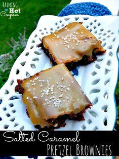 Salted Caramel Pretzel Brownies Recipe {Click here --> http://www.raininghotcoupons.com/salted-caramel-pretzel-brownies }