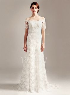 Wedding Dresses - $186.99 - A-Line/Princess Off-the-Shoulder Sweep Train Lace Wedding Dress (00205003273)