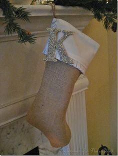 Cute! Would do something other than burlap but like the simple idea with just a glittery letter