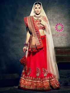 Off White & Red Embroidered Lehanga for just Rs.13215