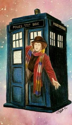 Dr Who Tom Baker, Classic Doctor Who, Doctor Who Art, Superwholock, Beautiful Artwork, Fandoms, Painting, Painting Art, Paintings