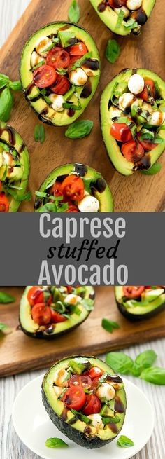 A creamy twist on caprese salad stuffing them inside Caprese Stuffed Avocados. A creamy twist on caprese salad stuffing them inside avocados. An easy light meal or a fun side dish for a party. Source by SkinRenewalSA Healthy Diet Recipes, Healthy Meal Prep, Healthy Snacks, Vegetarian Recipes, Cooking Recipes, Best Avocado Recipes, Avocado Ideas, Vegetarian Salad, Cooking Games