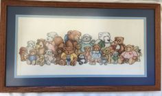 "Completed Teddy Bear Reunion Cross Stitch Aida Framed 21.5"" X 12"" Heartprints"