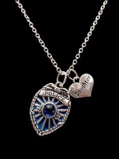Blue Police Shield Badge Daughter Heart Gift For Officer Daughter Charm Necklace