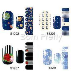 $1.69 14Pcs Snowflake Full Nail Art Wraps Universe Pattern Adhesive Nail Stickers - BornPrettyStore.com