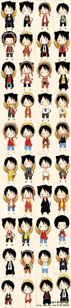 One Piece- Luffy Chibi Anime One Piece, Sanji One Piece, Manga Anime, Anime Chibi, Digimon, Kuroko No Basket, Mugiwara No Luffy, Tsurezure Children, One Peace