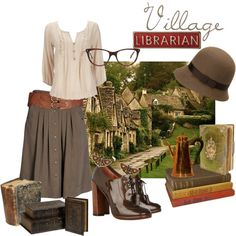 """Village Librarian"" by trinelf on Polyvore...well, I have the belt and similar shoes"