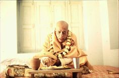 Srila Prahbupada honors prasadam