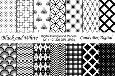 Black and White Digital Backgrounds by Candy Box Digital on @creativemarket