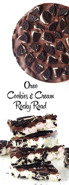 Only four ingredients to make the best no bake Oreo Cookies and Cream Rocky Road ever! Perfect for a Christmas gifts too!